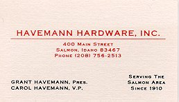 Havemann Hardware, Salmon Idaho USA