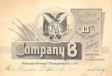 1890 Invitation to Company B reception